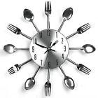 3D Modern DIY Large Cutlery Quartz Wall Sticker Big Watch Home Decor Art Clock