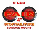"""Red 4"""" Round Stop Turn Tail Lights (PAIR) 9 LED Surface Mount"""