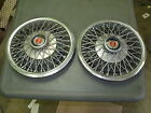 """PAIR (2) HUB CAPS FORD 13"""" WIRES ORIG. FOR BOBCAT, MUSTANG, PINTO 1977-1980"""