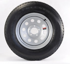 Two Mounted Radial Trailer Tires & Rims + Cap & Lugs ST175/80R13 5 Lug Gray Grey