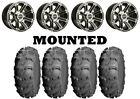 Kit 4 ITP Mud Lite XL Tires 27x10-14 on Sedona Viper Machined 10mm Wheels CAN