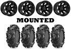Kit 4 Maxxis Mudzilla Tires 30x9-14/30x11-14 on Raceline Scorpion Black IRS