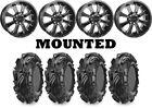 Kit 4 Maxxis Mudzilla Tires 27x9-12/27x12-12 on Raceline Mamba Black Wheels POL