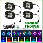 4x LED Flush Mount Work Light with RGB halo Multicolor Change Chasing RF Remote
