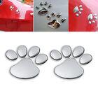3D Car Silver Window Bumper Body Decal Sticker Bear Cat Dog Paw Foot Prints NEW