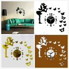 Butterfly Beauty Girl 3D Diy Wall Clock Mirror Surface Sticker Home Decor Art TW