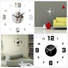 Modern DIY Wall Clock 3D Mirror Surface Sticker Home Room Office Art Decor TW