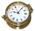 """Victory RM622L Cast Polished Brass Ship's Porthole Style Clock 4"""" Face 135-1094"""