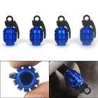 Car Wheel Rim Stem Air Valve Caps Cover Car Truck Bike SUV Grenade Blue 4Pcs Kit