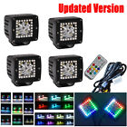 "4x 3"" CREE LED Work Light Spot Pods ATV SUV 4X4 with RGB Halo Ring Chasing Flash"