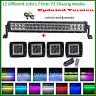 "22"" LED Light Bar w/ RGB Halo Chasing Flash + 4X 4D 16W CREE 3"" Halo Pods Remote"