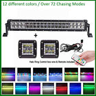 "22"" LED Light Bar + 2x 3"" 24W CREE Halo Pods with RGB Halo Color Change Chasing"