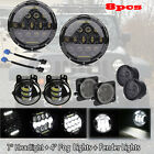 "7"" Inch LED Headlight 4"" Fog Light SmokeTurn Light Fender Side Marker For JEEP"