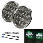 "2X 7"" Chrome 75W LED Headlights Hi/Lo Beam H4 H13 Green DRL For JEEP JK Wrangler"