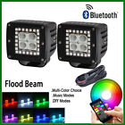 "2x 3"" Led Work Light Flood Cube Pods with RGB Halo Ring Stobe Bluetooth Control"