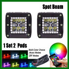 "Pair 24W CREE Led Work Light Square 3"" Cube Pods with RGB Halo Multicolor Stobe"