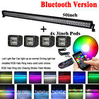 "50inch Led Light Bar w/ RGB Halo Ring Chasing Strobe Bluetooth + 4x 3"" 24W Pods"