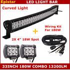 "33"" 180W Curved LED Work Light Bar Spot Flood + 4inch 18W Work Light+ Wiring Kit"