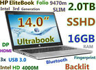"SLIM Ultrabook HP Folio 9470m i5-1.9GHz (Huge 2TB SSHD 16GB) 14"" Backlit BT FP"