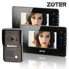 "ZOTER 7"" LCD Touch Key Video Door Bell Phone Hands Free Home Intercom 2x Monitor"