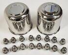 "2 Trailer Lug & Cap Sets - Stainless Hub Cover & 8 SS Lugs 4.90"" Center Bore"
