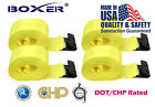 """(4) Boxer 4""""x30' Winch Strap W/ Flat Hook Flatbed Truck Tie Down 5400LB US Made"""