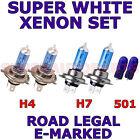 FITS RENAULT MEGANE 2003-2005 SET H7 H4 501 HALOGEN XENON EFFECT LIGHT BULBS