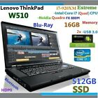 (3D Design FHD) Thinkpad W510 i7-EXTREME (Blu-Ray 512GB-SSD 16GB) 15.6 nVIDIA