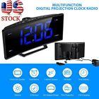 Projection Digital LED Alarm Clock Electric FM Radio Large Display with USB Port