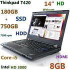"Lenovo Thinkpad T420 i5-2520Mz (180GB-SSD + 750GB HDD) 8GB 14""  Webcam HDMI"