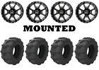 Kit 4 Arisun Tuff Mudder Tires 26x9-12 on Frontline 556 Black Wheels SRA