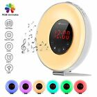 Auto Switch 7 Colors LEDs Wake-up Lights Digital Alarm Clock FM Radio 6 Sounds