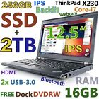 "Thinkpad X230 12.5"" IPS i7-3rd Gen (256GB SSD + 2TB 16GB) USB-3.0 Backlit DOCK"