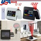 US Projection Digital Weather LCD Alarm Clock Color Display LED Backlight Light