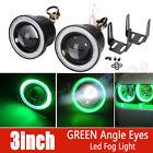 "2X 3"" inch 3200LUM LED Projector Fog Driving Light w/ Green Halo Ring Car Auto"