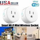 2 Pack Mini WiFi Smart Plug Remote Control Timer Switch Power Socket Outlet US