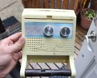Vintage Home Toilet Paper Roll Holder AM FM Radio Clock White Wall Mount