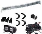 """50inch Curved Led Light Bar + 2x 4"""" cube Pods Chevy  GMC Titan Jeep XJ Rubber"""