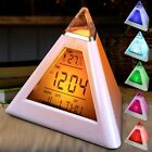 Pyramid Alarm LED Clock Ambient Changing Color Back Night Light Temperature Date
