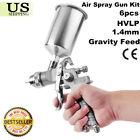 1.4mm Gravity Feed HVLP Air Spray Gun Kit Aluminum Cup Auto Paint Primer SW 6PCS