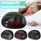 220V Digital Bedside Alarm Clock LED Dual AM FM Radio Snooze Sleep Timer Charger