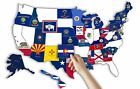RV US Sticker Travel Map Decal State Flags Road Trip Motorhome Camper Trailer