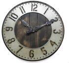 "20"" Farmhouse Clock Rustic Industrial Modern Metal Wall Decor Distressed Wood"