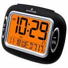 Marathon Atomic Alarm Clock with Temperature and Date - Black