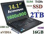 """(3D-Design HD+) Thinkpad T420s  (256GB SSD + 2TB) 16GB 14"""" nVIDIA HDMI USB 3.0"""