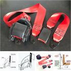 Red Auto Car Safety Seat Belt Lap Kit Universal 3 Point Adjustable Retractable
