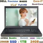"(3D Design) DELL M4600 15.6"" FHD i7-QUAD (256GB-SSD + 1TB  24GB) nVIDIA-Quadro"