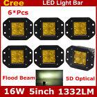 6X 16W 5D+ Yellow Square Flush Mount Flood Lmap LED Work Light For Jeep ATV Boat