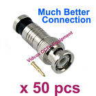 50X Compression Fitting Male Coaxial BNC Connector Plug for CCTV Security Camera