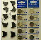 TEN (10) OF EACH COIN BUTTON BLACK CELL HOLDER + LITHIUM BATTERY CR2032 ALL NEW!